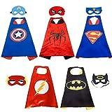 HTIANC Superhelden Kostüme, Spiderman kostüm, 5 Superhelden Capes und Masken, Superman Umhang und Augenmaske für Kinder, Karneval, Halloween, Geburtstag, Fasching
