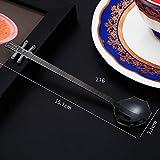 Ari_Mao Useful Cuchara de café Creativa Erhu Cuchara de Postre Cuchara de Helado Cuchara de Instrumento Musical (Negro)