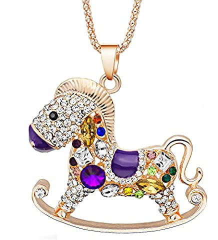 SaySure - Purple Rocking Horse Necklace Colorful Crystal