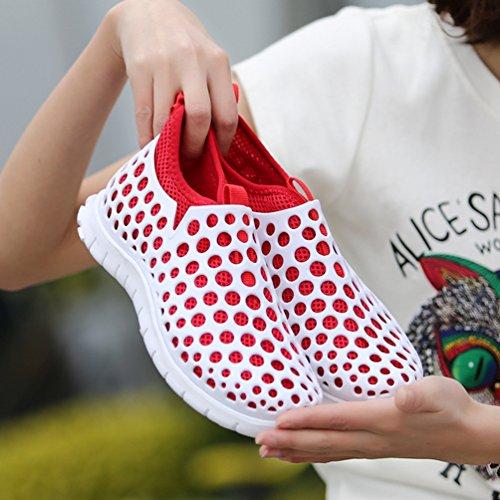 YOUJIA Unisex Outdoor Casual Sandalen Anti-Rutsch Geschlossene Zehe Atmungsaktiv Mesh Clogs Pantoffeln Weiß Rot