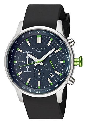 AVIATICA Herren Armbanduhr Chronograph Schwarz mit Grn 06137004