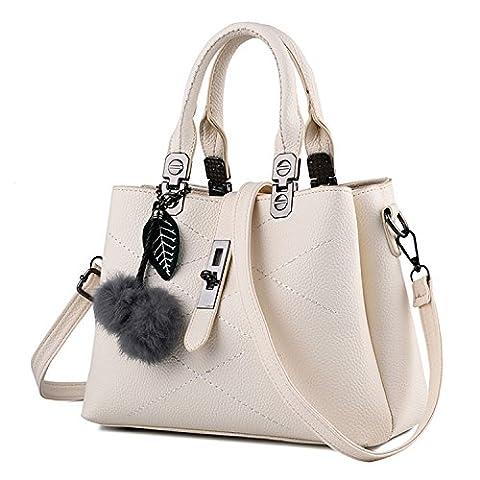 Young & Ming - Femme Sacs en Cuir Handbag Totes Sacs menotte Sacs portés épaule Avec une boule floue