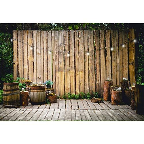 Cassisy 3x2m Vinyl Frühling Foto Hintergrund Garten dekoriert Holzzaun Kleines Licht Fässer Fotografie Hintergrund für Photo Booth Party Fotostudio Requisiten 3 X Licht