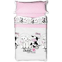 Burrito Blanco - Juego de sábanas 144 para cama 90x190/200 cm, color rosa