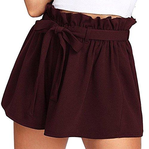 Btruely-Shorts Damen Sommer Kurze Hosen Damen Lässige Design Hohe Taille Lose Modische Shorts Frau mit Gürtel (Asia Größe S, W- Wein) -