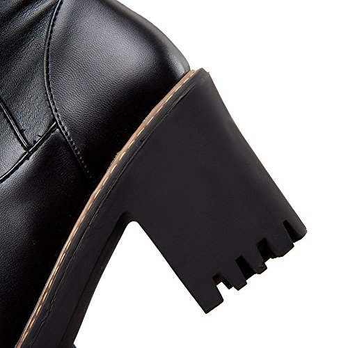 AgooLar Damen Reißverschluss Hoher Absatz Pu Leder Rein Hoch-Spitze Stiefel Schwarz