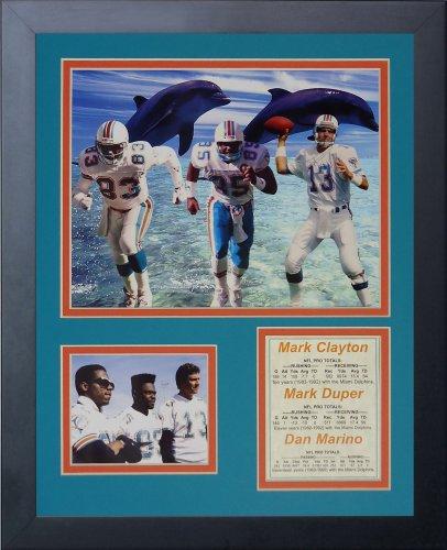 Legenden Sterben Nie Miami Dolphins 80's Big Drei gerahmtes Foto Collage, 11x 35,6cm