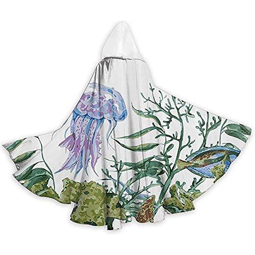 Kostüm Robe D'halloween - Mitta Yane Hooded Cape Kostüm in voller Länge Aquarell Seetang Quallen und Fisch Kapuzenkostüme