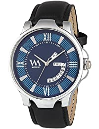 Watch Me Blue Dial Black Leather Strap Day And Date Watches For Mens Stylish Collection Series Analog Quartz Watch...