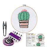 BERYA - Juego completo de bordado a mano para principiantes, que incluye tela de bordado, bastidor de bambú, hilos de colores y kit de herramientas para principiantes Cactus