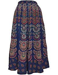 Chanchal Fashion Women's Cotton Skirt (Blue,Free Size)