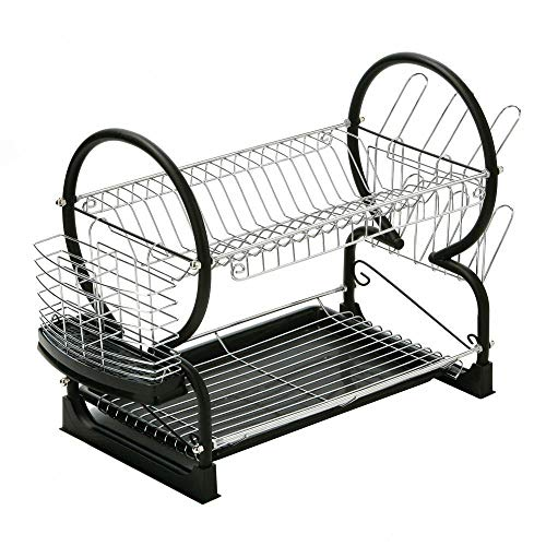 St@llion 2 Tier Dish Drainer Rack with Glass Utensil Cutlery Caddy & Drip Tray (Black)