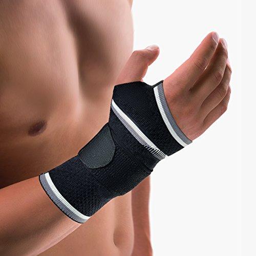 Bort 112920 medium rechts schwarz ManuBasic Handgelenkbandage, rechts oder links tragbar in verschiedenen Farben, rechts medium, schwarz