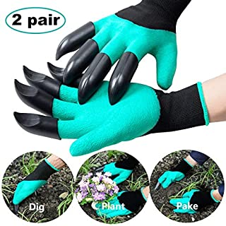 SLB Gardening Gloves with Claws - Puncture Thorn Resistant Waterproof Safe Garden Gloves for Easy Quick Digging, Planting, Pruning Rose - Gardening Gifts for Men/Women,Gardeners/Landscapers (2 Pairs)
