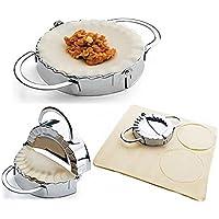 i-auto tiempo Dumpling Maker, masa de Dumpling Maker y prensa de acero inoxidable para casa, de cocina Dumpling Pie Ravioli molde molde Maker Herramienta de repostería para cocinar, acero inoxidable, Large Size