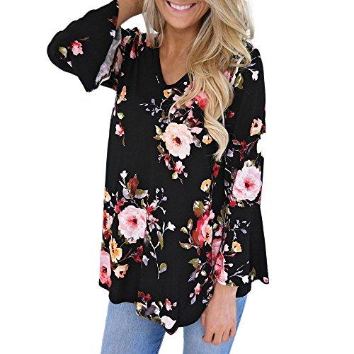 Letter Femmes Casual Floral impression en mousseline de soie Blouse à manches longues col rabattu chemises dames Printemps Eté Automne Mode Élégant Tops Fleur Blouse Tunique T-shirt Noir