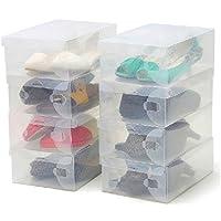 Zapatos apilable plegable Organizador transparente para hombres y mujeres Pack de 10 cajas Ahorre zapatos transparentes de plástico corrugado por Kurtzy-Zapatos impermeables Organizador - Zapatos pequ