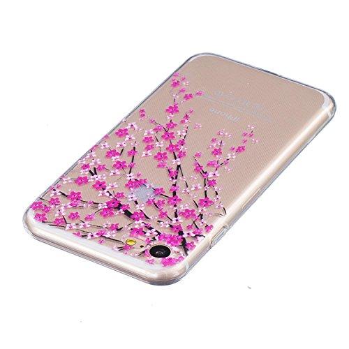iPhone 7 Caso Cassa, CLTPY Marvel Colorato Belle Particolari Dipinto Disegni Shell Skin in Liscio Smooth Toccare Gomma,Resistente Urti Antiurto Chiaro Cristallo Posteriore Involucro Guscio per Apple i Fiore Rosso