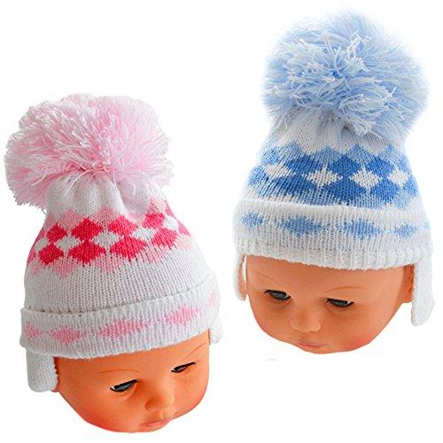 Super Cute Kabel Knit pink & blue diamond-Pom Pom Hat - Diamond Knit Hat