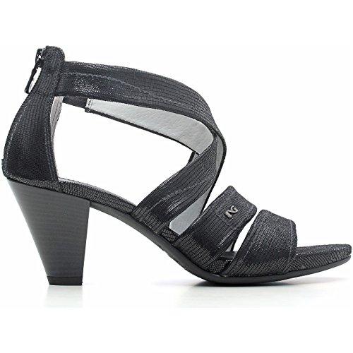 Nero Giardini Sandalo Donna in Pelle Lucida con Tacco Medio P615552D 100 Betty Nero