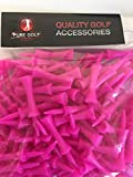 Pure Golf Pack of 100 UK Made Pink Castle Shoulder Tees 60mm for 40mm Teeing Up Height
