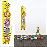 Animal Height Growth Chart Wall Stickers 01 Children Bedroom Decor Art Decals - REMOVABLE Vinyl with CM measurements for Boys & Girls between 50-160cm