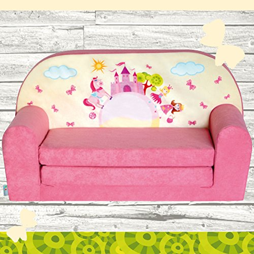 "Kindersofa ""MINI"" zum Aufklappen Pink Castle W386_09 FORTISLINE"