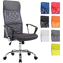 CLP Silla de oficina Washington XL con reposabrazos, tapizado en red y en cuero sintético, soporte metálico cromado, mecanismo de balanceo y con un peso máximo de 180 kg. gris