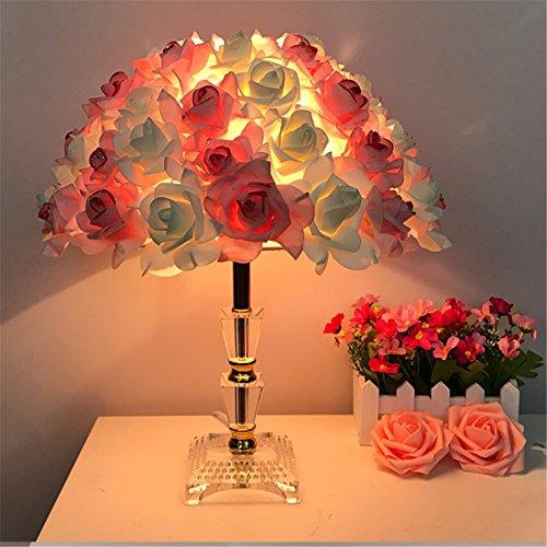 Adornos navideños Lámpara de mesa de cristal de boda creativas dormitorio decorado la habitación de matrimonio lámpara de mesilla cálido continental rose â pasar el regalo de bodas ,amarillo-d modelo