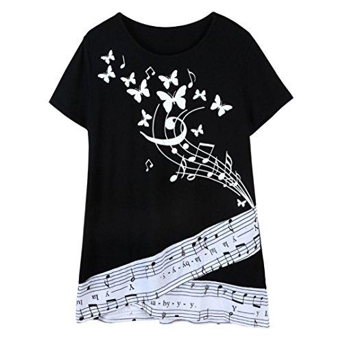 Hevoiok Damen Kurzarm Tops Casual Bluse Musical Noten Tonspektrum Drucken Oberteile Neue Sommer Rundhals T Shirt Frauen Shirt Große Größen L-3XL (Schwarzer, 3XL)