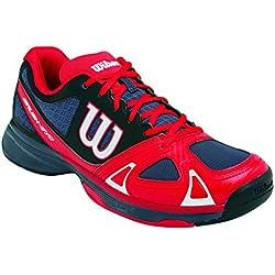 Wilson RUSH EVO - Zapatillas de tenis, Hombre, Gris / Rojo / Negro, 44 2/3
