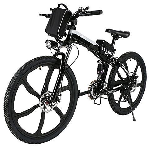 AMDirect E Bike Mountainbike, 26 Zoll Klapprad Pedelec Elektrofahrad mit Lithium-Akku (250W, 36V), Ladegerät, 21-Gang Shimano Nabenschaltung