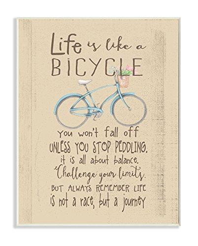 Die Kinder Raum durch Stupell 'Das Leben ist wie EIN Fahrrad' Icon Inspirierende Typografie Wandschild Art
