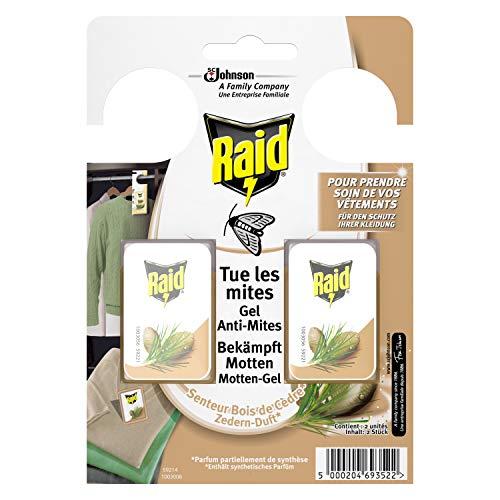 Raid (Paral) Motten-Gel zum Aufhängen im Schrank, Zedernöl, 3er Pack (3 x 2 Stück) -