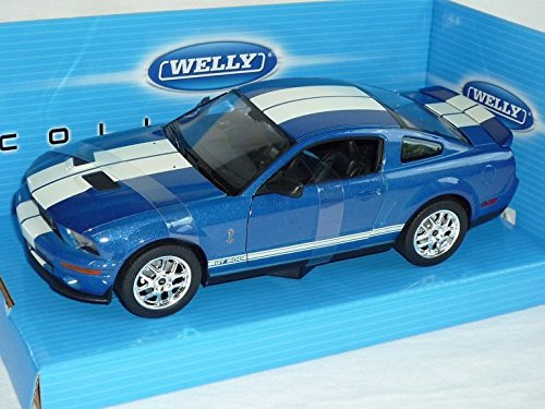 Ford Mustang Shelby Gt500 Gt-500 2007 Coupe Blau Weiss Streifen 1/24 Welly Modellauto Modell Auto (Streifen Welly)