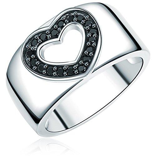 Rafaela Donata Damen-Ring Herz Classic Collection 925 Sterling Silber Zirkonia schwarz Gr. 54 60400039 -