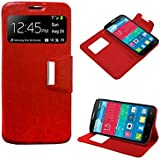 Funda Flip Cover Premium color Rojo para Alcatel One Touch Pop C7