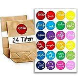 24 Sacs en Papier pour Calendrier de l'Avent avec Autocollants - Motif Numéro écrits à la Main - Multicolores - 6