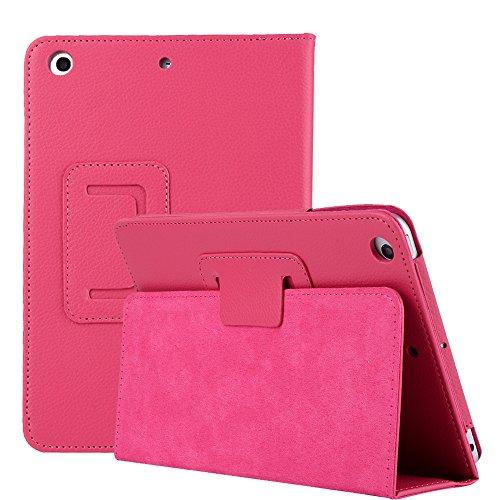 iPad Mini 4 2015 Hülle, elecfan® Ultra Slim Schlau PU Leder Tasche Hülle Etui Schutzhülle Ständer Smart Cover für Apple iPad Mini 4 7.9 Zoll IOS 2015 Genaration Tablet Modellnumber A1538 A1550 - Hot Pink (Hot Pink Danke Taschen)