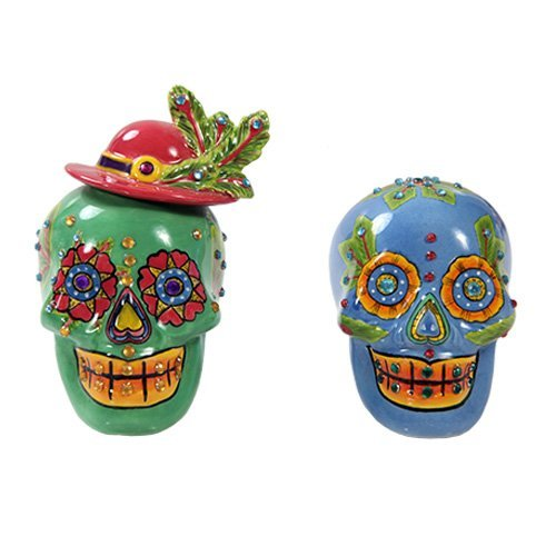 Day of Dead Sugar Blue & Green Skulls Salt & Pepper Shakers Set Rhinestone DOD by Pacific Giftware Green Pepper Shaker