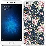 FUNDA CARCASA PARA Xiaomi Mi5 ESTAMPADO FLORES ROSAS FONDO AZUL BORDE BLA