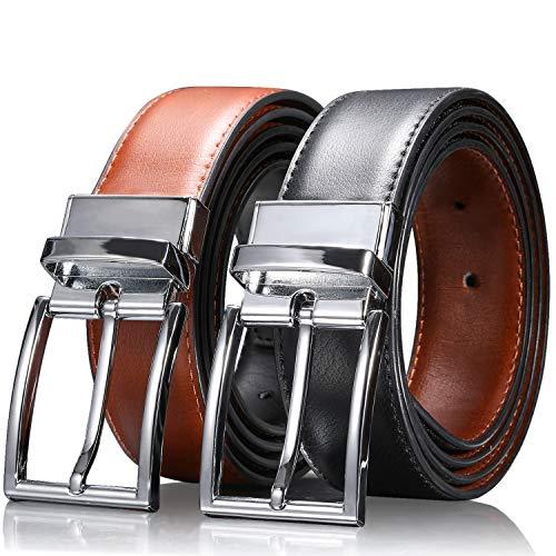 IceFrog Ceinture homme,ceinture homme noir,ceinture cuir homme réversible Noir Marron 32mm de Larges, Ceinture Business,Ceinture de jeans pour hommes