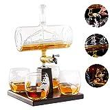 BQT Carafe à vin Blanc, Carafe à Whisky écossais, Boisson alcoolisée 1000ML, Distributeur de Robinet en Acier Inoxydable - 4 Verres de Carte du Monde gravés - Coffret Cadeau Parfait