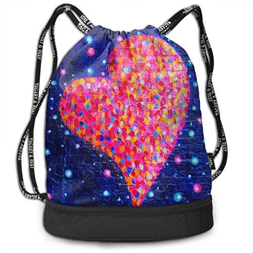 MLNHY Men & Women Waterproof Large Storage Drawstring Backpack - Blue Brick Dots Graffiti Heart Pink Cinch Backpack Sackpack Tote Sack for Gym Hiking School