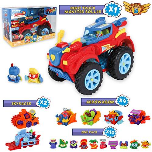 SuperZings Serie 5 - Hero Truck Monster Roller y Pack Sorpresa con 16 Sets | Contiene Juguete Monster Roller, 10 Sobres One Pack, 4 Aerowagons y 2 Skyracers | Juguetes y Regalos para Niños (Serie 5)