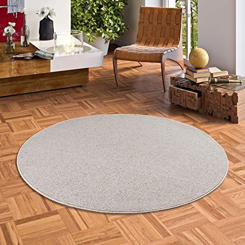 Natur Teppich Wolle Berber Rund Grau Meliert in 7 Größen
