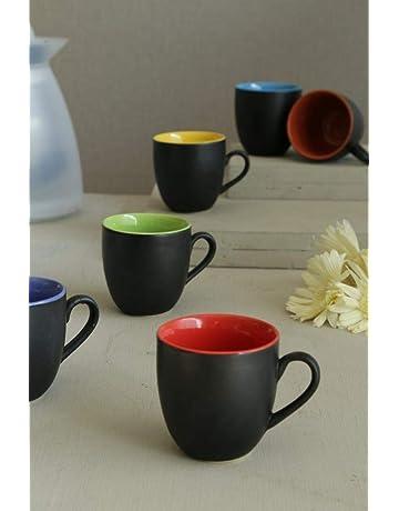 5a4acf9d7bc La Lady Store Black Mat Multicolour Tea/Coffee Cups, 180 Ml, Set of