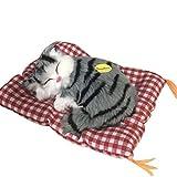 Simulazione di Sonno Gatto Grigio/Nero con Giocattolo Mat Gattino del Gatto della Peluche Giocattolo del Suono della Decorazione della casa Gatto di Sonno