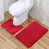 Ensemble d'Accessoire de Toilette WC Set 2 pcs gaufrage motif de poissons tapis de bain Set tapis absorbant tapis anti-dérapant ensemble de tapis rectangle en forme de U tapis-rouge