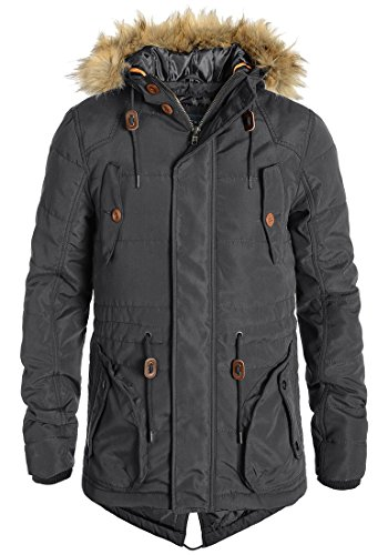 BLEND Polygamma Herren Parka Winterjacke Kapuze mit hochabschließendem Kragen aus hochwertiger Materialqualität Ebony Grey (75111)